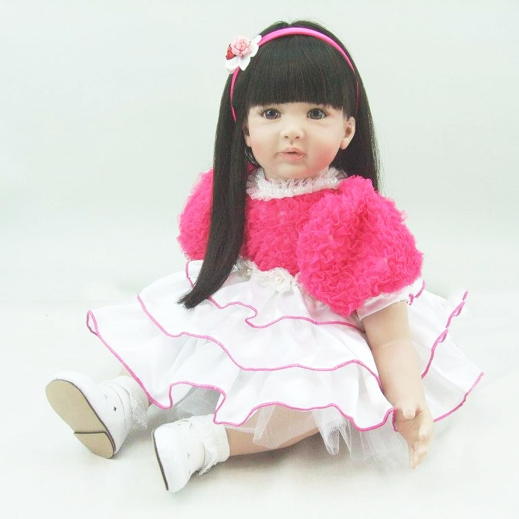 Pursue 24/60 cm Pink Dress Baby Alive Silicone Reborn Toddler Baby Doll Princess Girl Doll Toys for Girls Birthday Holiday Gift adorable soft cloth body silicone reborn toddler princess girl baby alive doll toys with strap denim skirts pink headband dolls