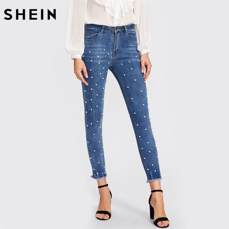 Шеин Перл бисера низ с бахромой Джинсы для женщин Повседневное Для женщин S обтягивающие джинсы деним осень Высокая Талия отбеленные женская обувь на застежке-молнии Брюки для девочек