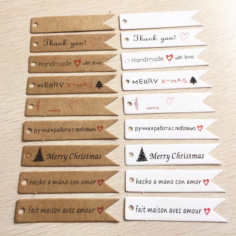 100 PCS 7x1.5cm DIY Kraft Paper Tag Dovetail shapes Label Luggage Wedding Party Note Blank price Hang tag Gift Wrapping Supplies