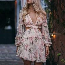 2019 New Yfashion Women Sexy Backless Beach Dress Deep V-neck Long Sleeve Lace-up Dress checked lace up long sleeve dress