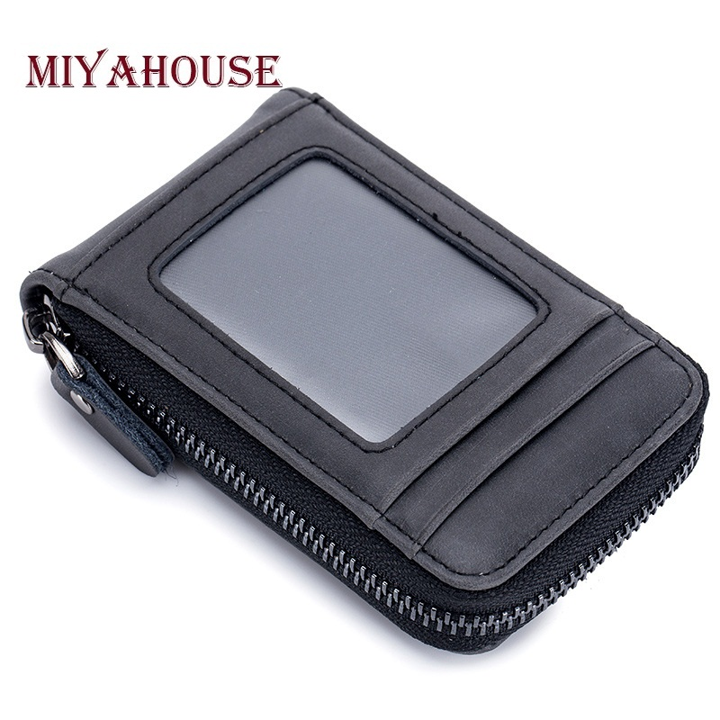 Miyahouse New Trendy Unisex Card Holders Wallet Split Leather Female ID Card Wallets High Quality Male Business Cards RFID Bag