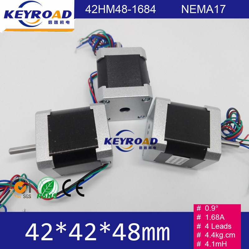 3pcs 0.9 degree 1.68A 4.4Kg.cm 3000rpm 42mm*48mm 2phase hybrid stepper motor with 4 wires NEMA17 JL42HM48-1684