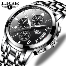 цена LIGE Mens Watches Top Brand Luxury Fashion Business Quartz Watch Men Sport All Steel Silver black Watches Relogio Masculino+Box онлайн в 2017 году