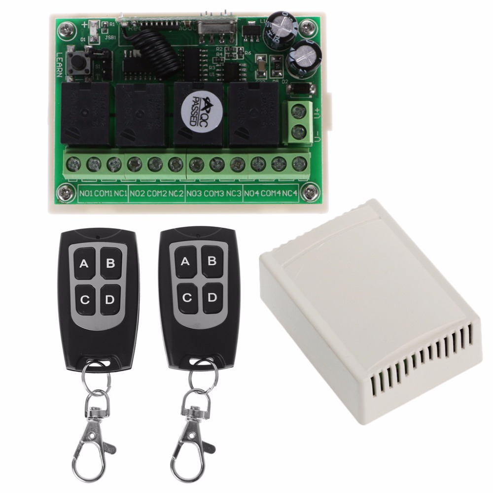 Wireless Remote Control DC 14V 4CH 315MHz Relay Switch 2 Transceiver + Receiver N08 geng dropship dc 12v 3a 4ch 200m wireless remote control relay switch transceiver with 2 receiver compatible 433mhz favorable