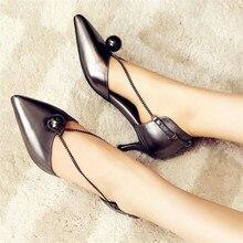 Zapatos de marca Mujer Tacones Altos Bombea los Zapatos de Boda de Cuero Del Dedo Del Pie Puntiagudo Zapatos De Tacon alto Perla Ladies Cadena Antideslizante en Los Zapatos