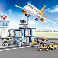 Sluban 0367 Model building kits compatible with lego city plane Airport 845 3D blocks Educational toys hobbies for children
