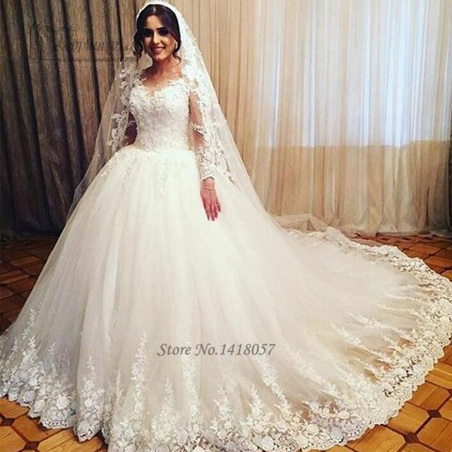 Vestido de Noiva de Renda Manga Ballkleid Brautkleider Lange Hülsen ...
