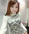 Otoño camisa de las mujeres de talla grande de Corea tops blusa de la manera 2016 que rebordea ocasional de algodón estampado de flores de encaje elegante camisa blusa de encaje