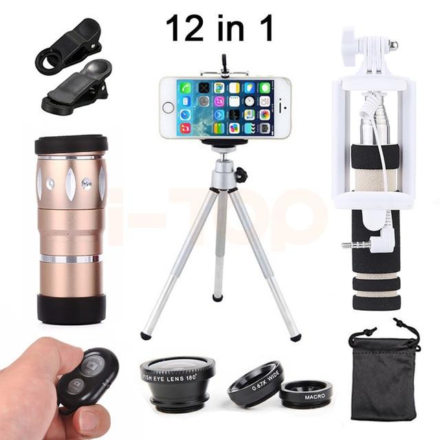 New 10X Lente Zoom Telefoto Lentes olho de Peixe Grande Angular Macro para iphone 7 lentes da câmera do telefone celular kit com tripé selfie vara