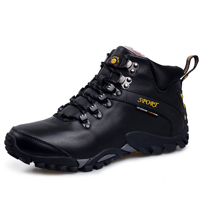 High Top Hiking Shoes Winter Sneakers Women Genuine Leather Outdoor Sport Trekking Hiking Shoes Plush Winter Sneakers Big Size outdoor sport women high top running shoes genuine leather running boots sneakers women plus big size