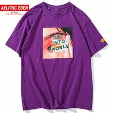 Aelfric Eden Get Into Troble Print Tshirt Homme Summer Fashion Hip Hop T shirts Cotton Casual