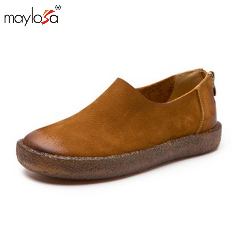 MAYLOSA Woman Genuine Leather Flat Shoes Fashion Hand-sewn Leather Loafers Female Casual Shoes Women Flats 2017 Mom Shoes