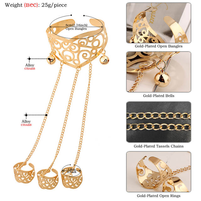 62179a34a82a2 SHEEGIOR Punk Gold Silver Hollow Open Bracelets for Women Finger Jewelry  Chain Link Cuff Bracelet Men's Bijoux Femme Bangle Gift