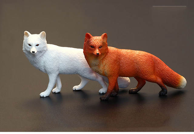 New Wild Life Zoo Animal Model White Fox Red Figurine Figures Kids Educational Toys Children Gift