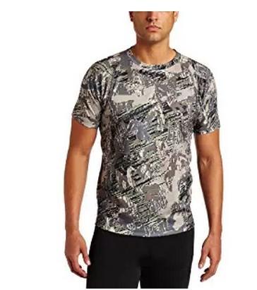 2016 Nova Sitka Núcleo Tripulação Manga Curta Camuflagem Camisas dos homens camisa Dos Homens T de Silêncio Absorve a Umidade Respirável Leve Promoção