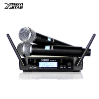 US Adapter GLXD4 Professional UHF Handheld Wireless Karaoke Microphone System 2 Channel Receiver For GLXD2 BETA58A Mixer Singing
