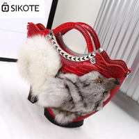 Sikote New Portable Handbags High Heels Shoes Package Fox Head Sweater Tide Feast Casual Bag Can
