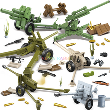 6 sets Soviet Union Military Artillery Gun Soldier Figures Weapons Building Blocks Compatible legoed Army WW2 Vehicle Kids Toys oenux new 6pcs ww2 soviet army figures military building block set the battle of moscow army military scenes toy for kids gifts