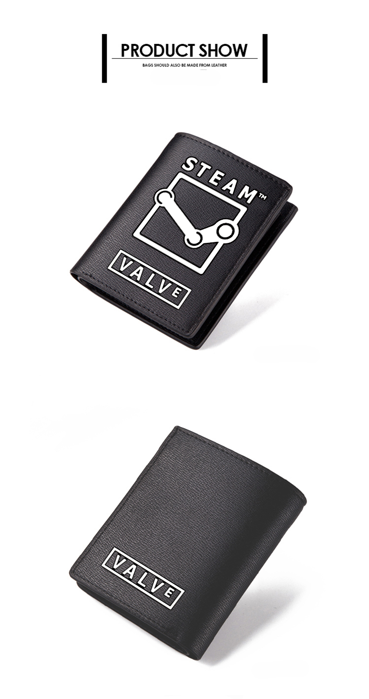 Zshop Pc Game Steam Black Pu Short Purse Carteira Wallet 1