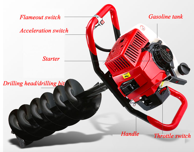 71CC Gasoline Earth Auger  Drilling Head High Power Two Stroke Single Cylinder Gasoline Hole Drilling Machine
