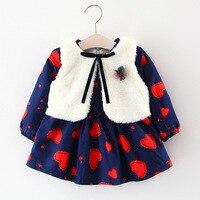 2pcs Baby Girls Clothing Set Cute Girls Winter Dress Vest Kids Dresses For Girls Toddler Princess
