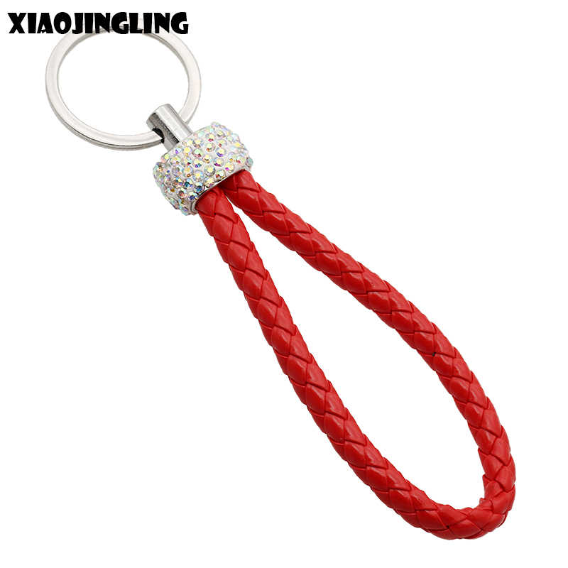 XIAOJINGLING Women Men Keychain Car Keyrings Red Leather Handmade Woven Rope Key Chain Fashion Jewelry Accessories Creative Gift