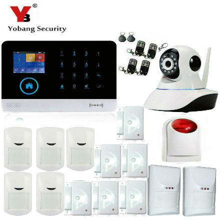 YoBang Security Android IOS App Control WiFi GSM Home Alarm System Magnetic Gate PIR Mobile Detector Detector Wireless IP Camera 3g wireless home security wifi ip camera alarm infrared motion detector pir sensor h 264 720p android ios app night version jh09