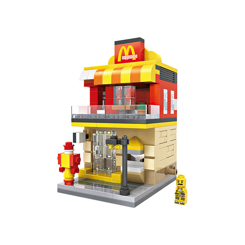 LOZ City Series Street View McDonaldes Model Assembled Building Blocks Compatible With Legos Educational Toys Gifts For Children loz street view architecture building brick 303pcs