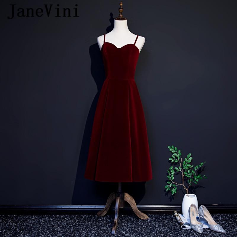 JaneVini 2019 Simple Burgundy   Cocktail     Dresses   Plus Size Spaghetti Straps A Line Velvet Sexy Open Back Tea-Length   Cocktail   Jurk