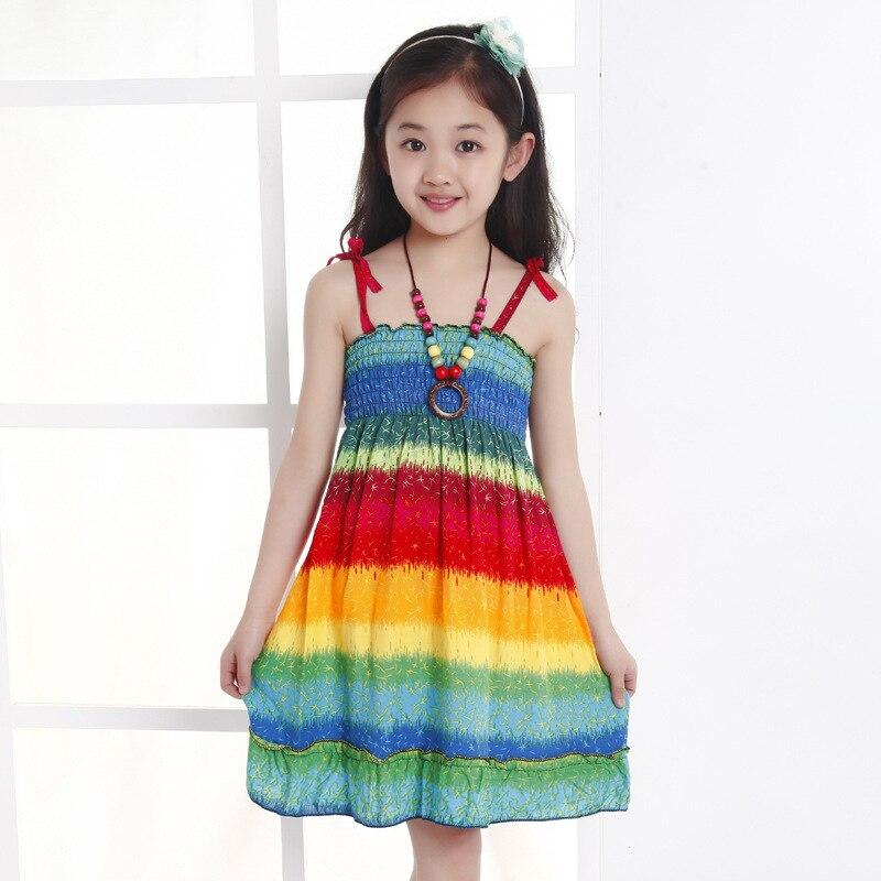 Letní dětské šaty 3-8 let Girl Beach Dress velká dětská princezna Šaty 3-7 let