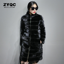 90cm Real Fur Coats For Women 2017 New Natural Mink Fur Coat Black Stripes Long Real Mink Fur Outwear Lady Winter Warm Overcoat