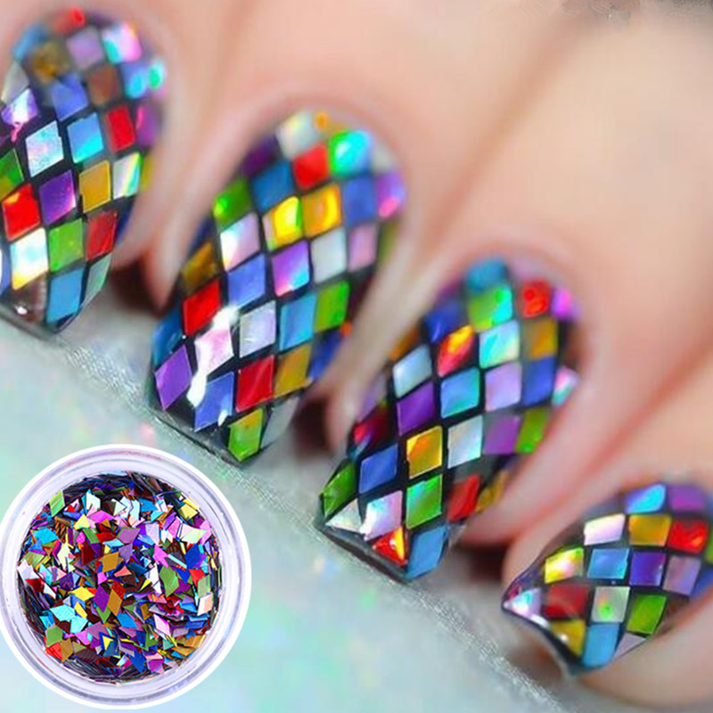 1 Box 2mm Rhombus Paillette Dazzling Mixed Diamond Sticker Tips Nail Sequins Sparkling Colorful Glitter Nail Art Decoration