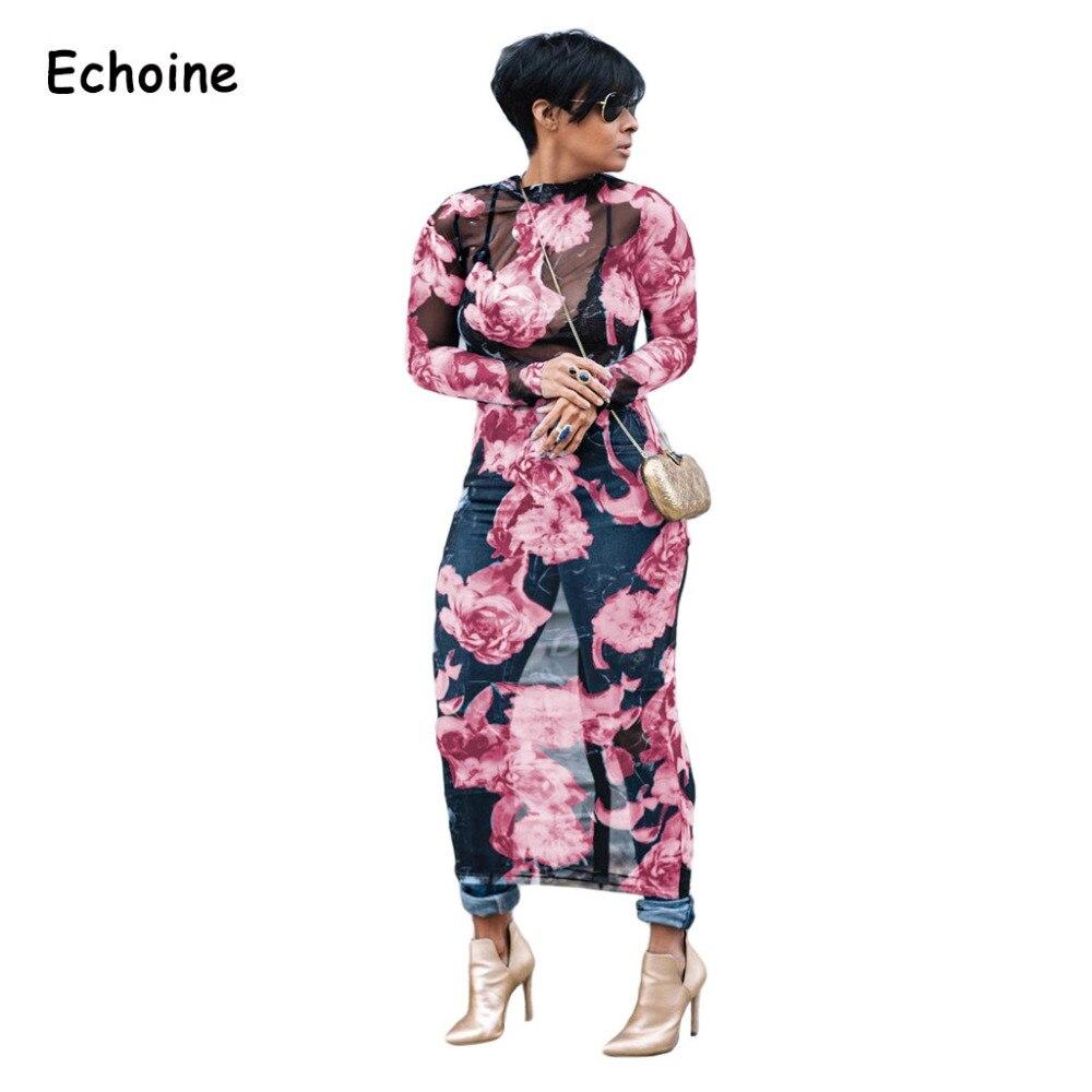 Echoine moda seksi tam örgü See Through elbise baskı çiçek uzun kollu Maxi uzun Drresses seksi parti elbiseler kadınlar için 3XL