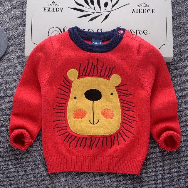 cd9d2aceb AD Cotton Lion Pattern Boys Girls Sweaters Toddler s baby Kids ...