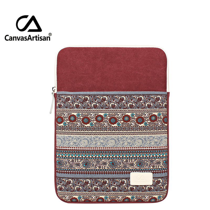"Canvasartisan 14"" practical protective laptop sleeves canvas bag retro style unisex briefcases bags with zipper pockets14 inch"