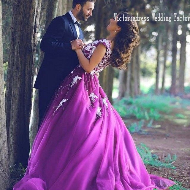 casamento charming scoop closed back saudi arabia bridal gowns white appliques and purple wedding dresses with