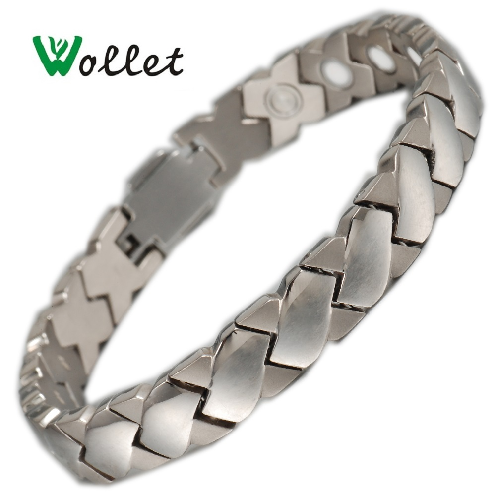 Wollet Jewelry Titanium Magnetic Bangle Bracelet for Women Men Infrared Negative Ion Magnet Health Care Silver Color