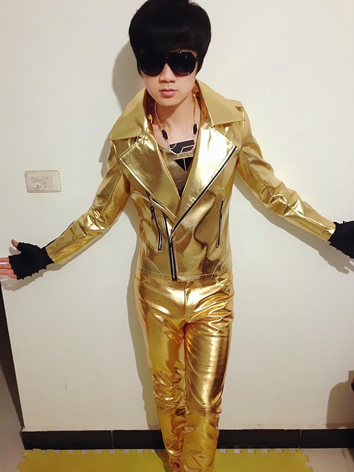 PU Leather Outerwear Jacket Coat Costume Men Fashion Slim Gold ...