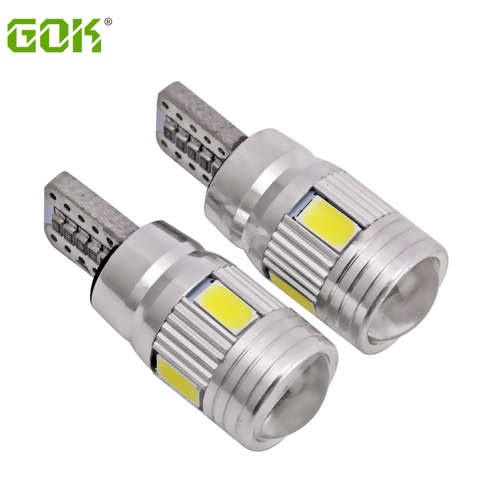 2pcs/lot T10 led canbus 6smd 194 Xenon White LED CANBUS NO OBC ERROR t10 6led smd 5630 5730 with Lens Projector Aluminum Case 100pcs lot t10 5 smd 5050 led canbus error free car clearance lights w5w 194 5smd light bulbs no obc error white