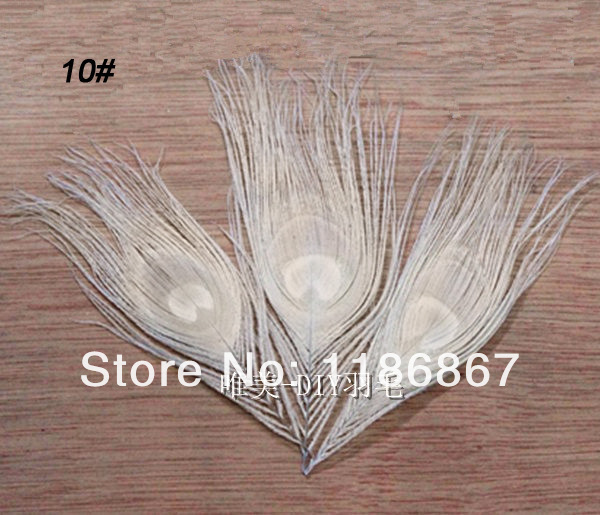 Free shipping 50pcslot wholesale 10-15cm4-6inch bleached white real peacock feathers eye fly tying plumes peacock wedding