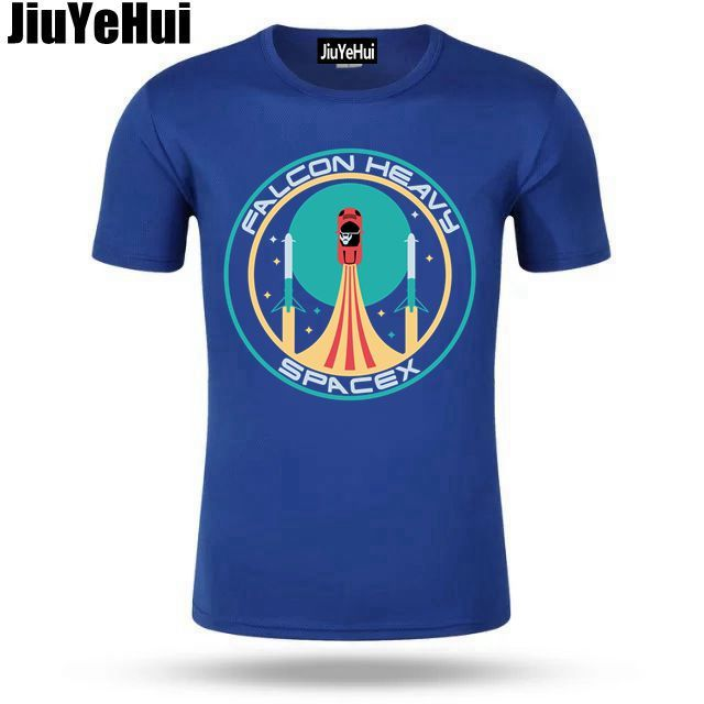 SpaceX T-shirt Elon Musk heavy falcon T shirts men Mars starman car Tee shirt rocket tshirt StarmanX T shirt Tesla Roadster Tees