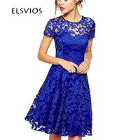 ELSVIOS Fashion Floral Lace Summer Dress 2017 Women Short Sleeve Casual Mini Party Dress Cute Women