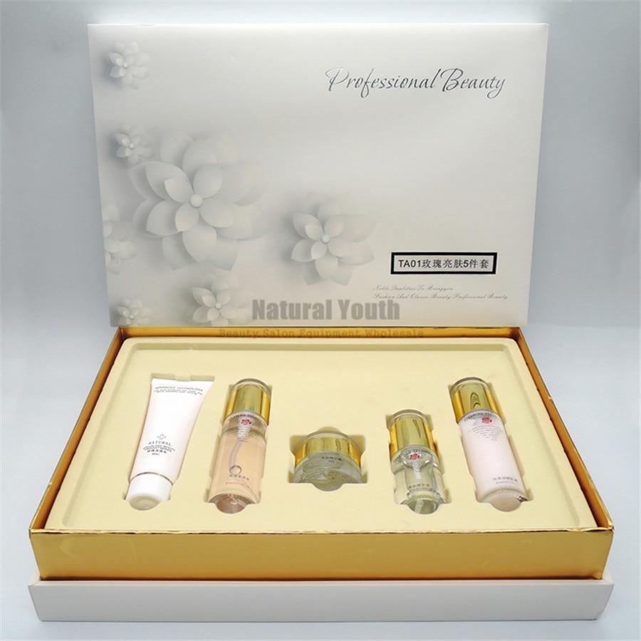 Rose sensible peau Relax éclaircissant hydratant Essence crème de jour cosmétiques Kit de soins de la peau 5 pièces ensemble