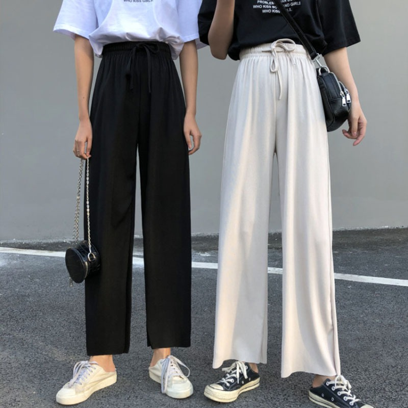 Drawstring Women   Pants   High Waist   Wide     Leg     Pants   Women's Casual Loose Harajuku Trousers