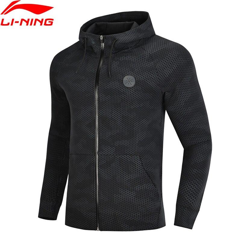 Li-Ning мужской свитер с капюшоном серии Wade, толстовка с капюшоном, обычная посадка, 66% хлопок, 34% полиэстер, подкладка, комфортные Топы AWDN671 MWW1413