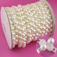 20m Roll Rhinestone Sewing Trim Flat Back Plastic ABS Pearl Beads String Bead 8mm White Ivory
