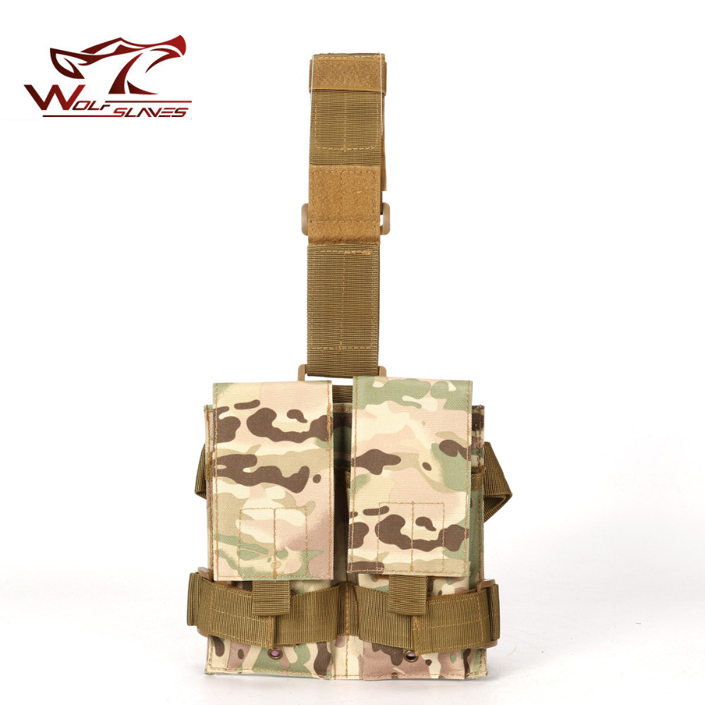 Tactical M4 5.56mm Double Pistol Magazine Mag Carrier Pouch Bag For Outdoor Hunting Drop Leg Panel Utility Pouch Bag