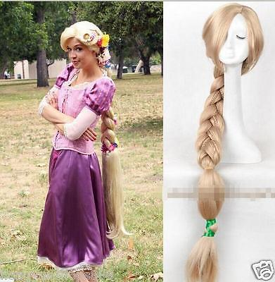 цена на Free shipping Tangled Rapunzel wg Long Blonde Handcraft Braid Women's Cosplay wig 1.2m