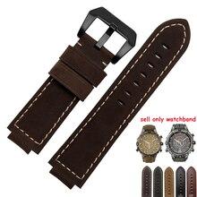 e9a531fa3f7 24 16mm faixa De Relógio de Couro Genuíno Preto Suave Cinto de Couro Nobuck  Marrom