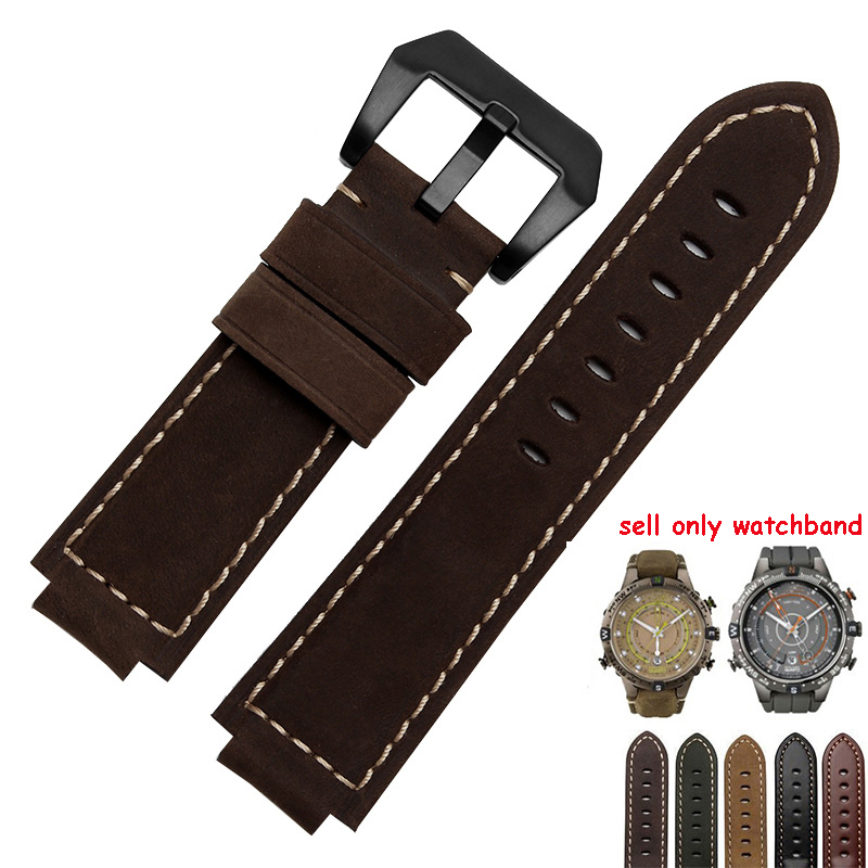 24*16mm Genuine Leather Watch band Black Smooth Belt Brown Nubuck Leather Replacement Strap For Timex T2N739 T2N721 720
